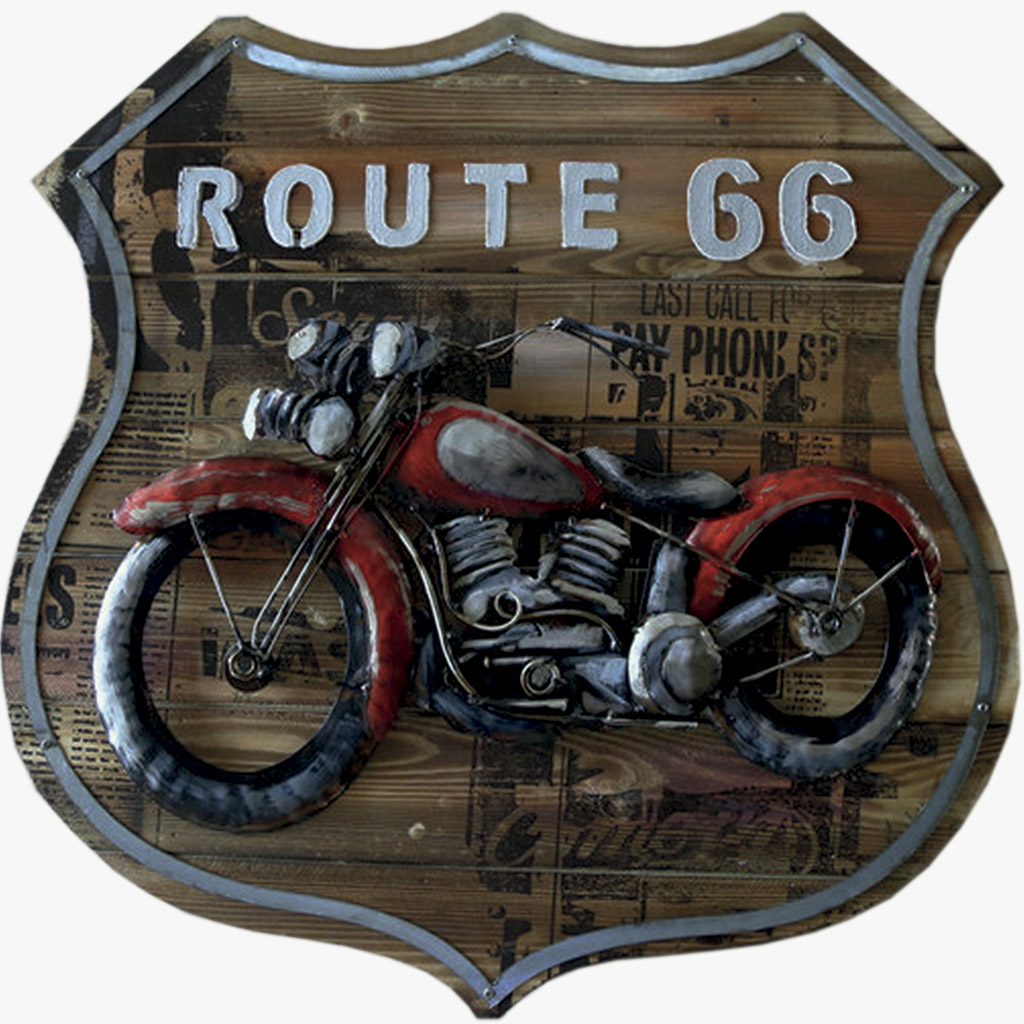 tableau en m tal et bois route 66 sur le th me de la moto. Black Bedroom Furniture Sets. Home Design Ideas