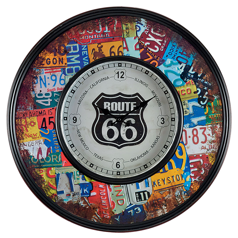 horloge lumineuse r tro route 66 avec clairage led design vintage. Black Bedroom Furniture Sets. Home Design Ideas
