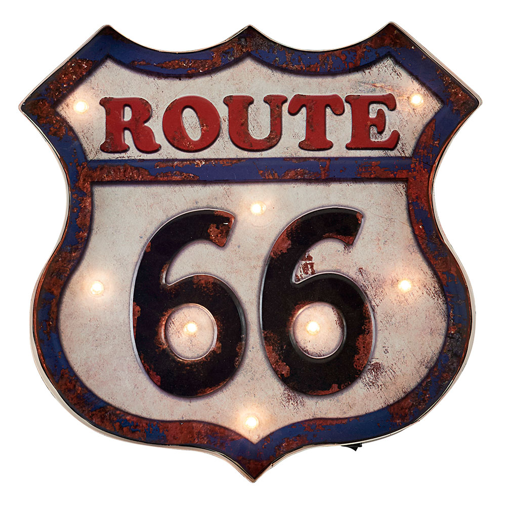 enseigne r tro route 66 avec clairage 8 led design vintage. Black Bedroom Furniture Sets. Home Design Ideas