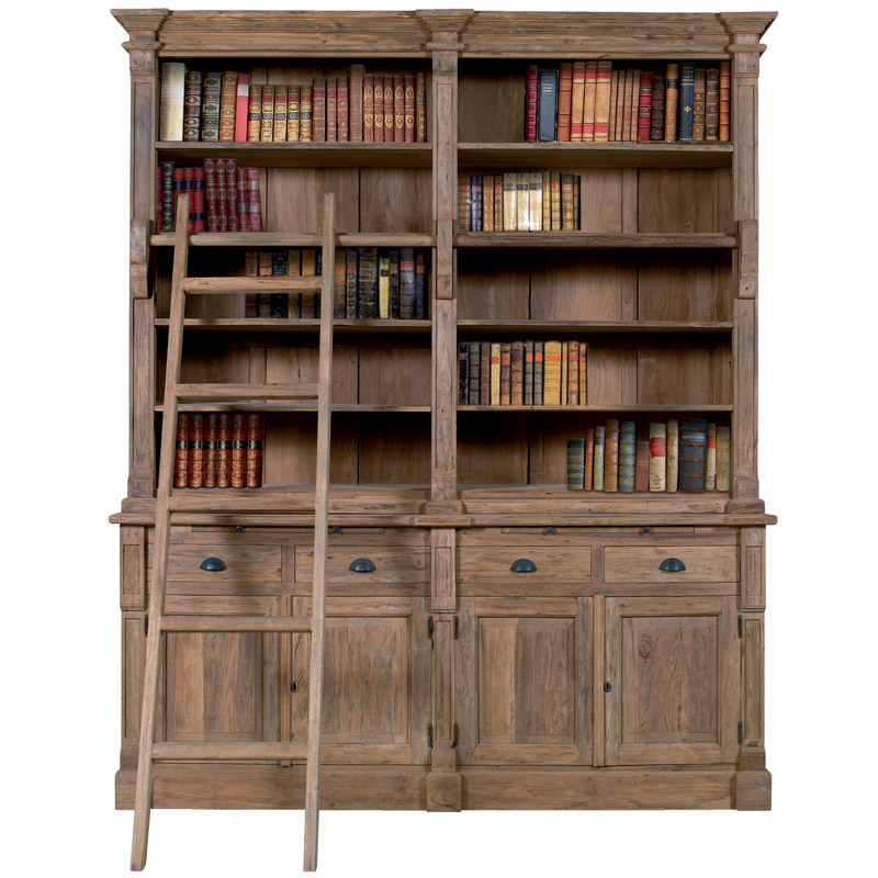 biblioth que design colonial de fabrication artisanale en teck recycl. Black Bedroom Furniture Sets. Home Design Ideas