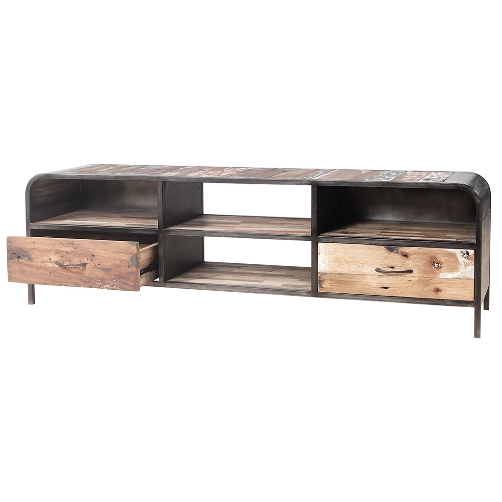 meuble tv vintage en bois de vieux bateaux recycl. Black Bedroom Furniture Sets. Home Design Ideas