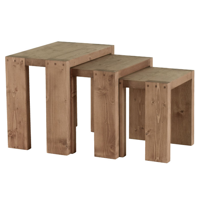 Table Basse Gigogne En Pin Massif Cire Moving Joue La Carte Ecolo