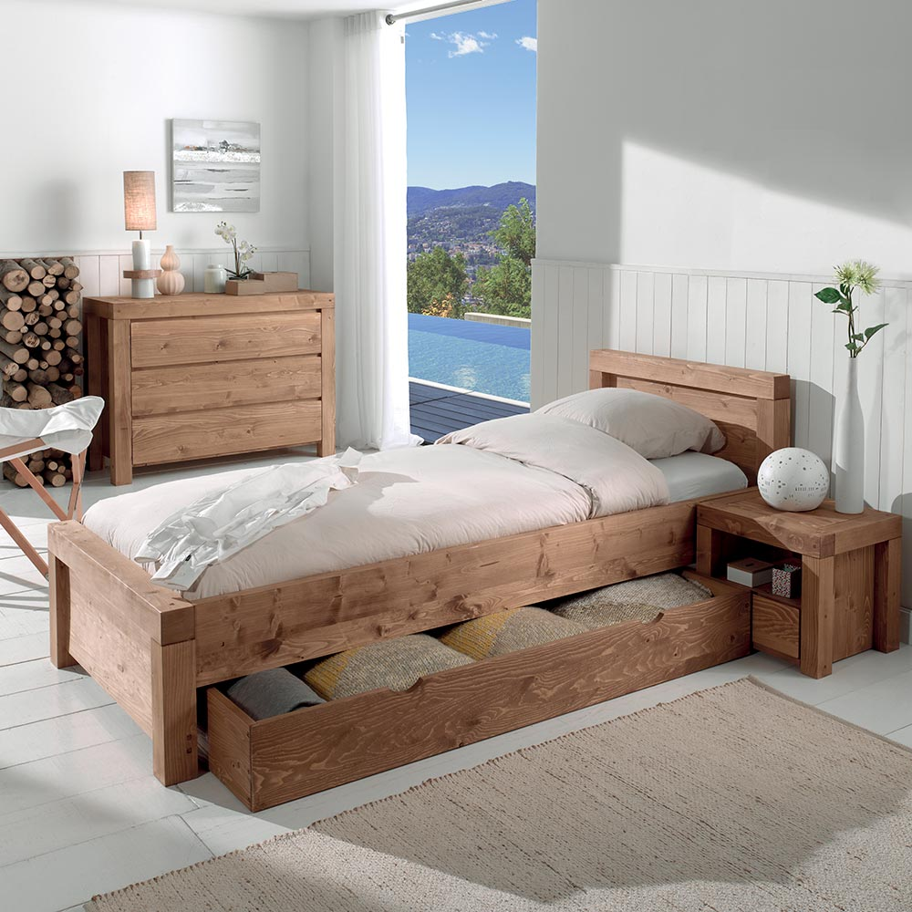sobri t des lignes pour le lit 1 place sanders en bois massif. Black Bedroom Furniture Sets. Home Design Ideas