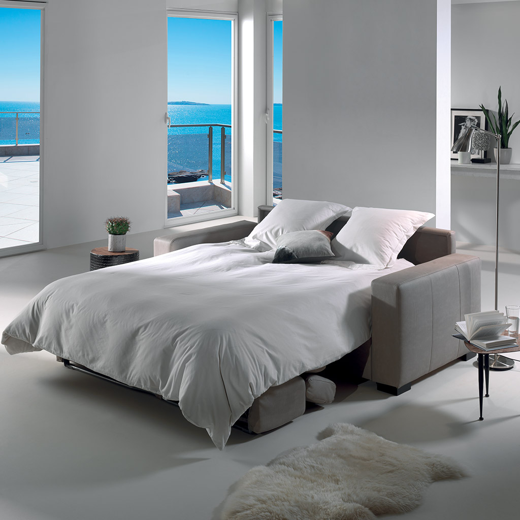 canap lit grand confort en 140 cm avec t ti res r glables. Black Bedroom Furniture Sets. Home Design Ideas