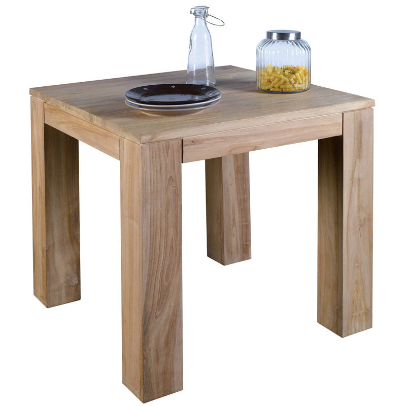 Table carr e mahina l 39 atout du teck massif au design pur Table sejour carree