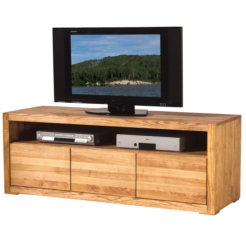 lignes pures pour le meuble tv en bois massif hartford. Black Bedroom Furniture Sets. Home Design Ideas