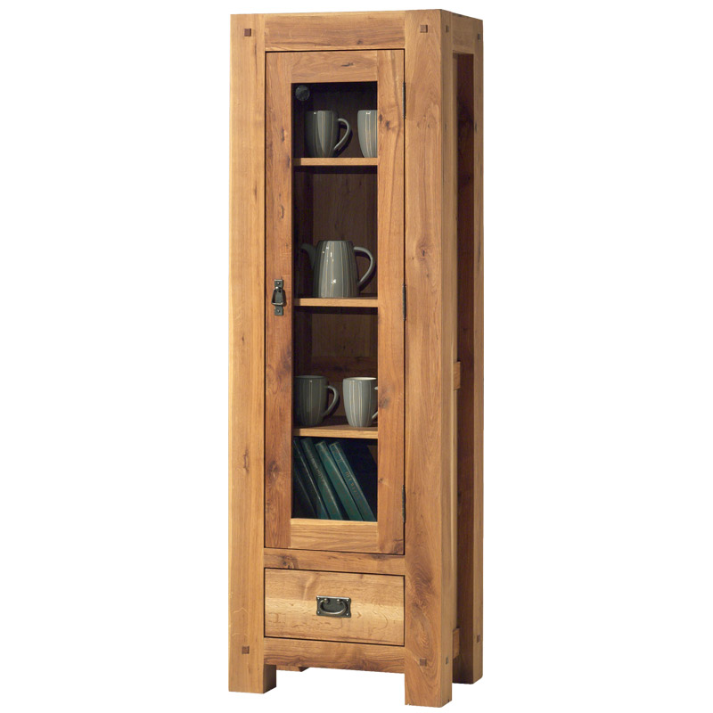 vitrine 1 porte vitr e en bois massif pour salon cosy. Black Bedroom Furniture Sets. Home Design Ideas