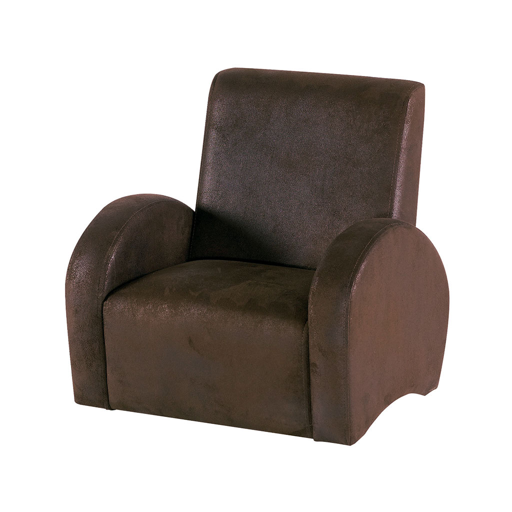 fauteuil eliot pour enfant en tissu aspect cuir marron. Black Bedroom Furniture Sets. Home Design Ideas