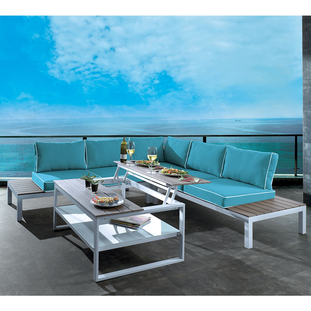 salon de jardin d 39 angle bleu seychelles aluminium laqu blanc. Black Bedroom Furniture Sets. Home Design Ideas