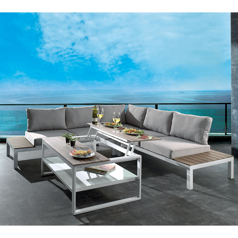 salon de jardin d 39 angle gris seychelles aluminium laqu blanc. Black Bedroom Furniture Sets. Home Design Ideas