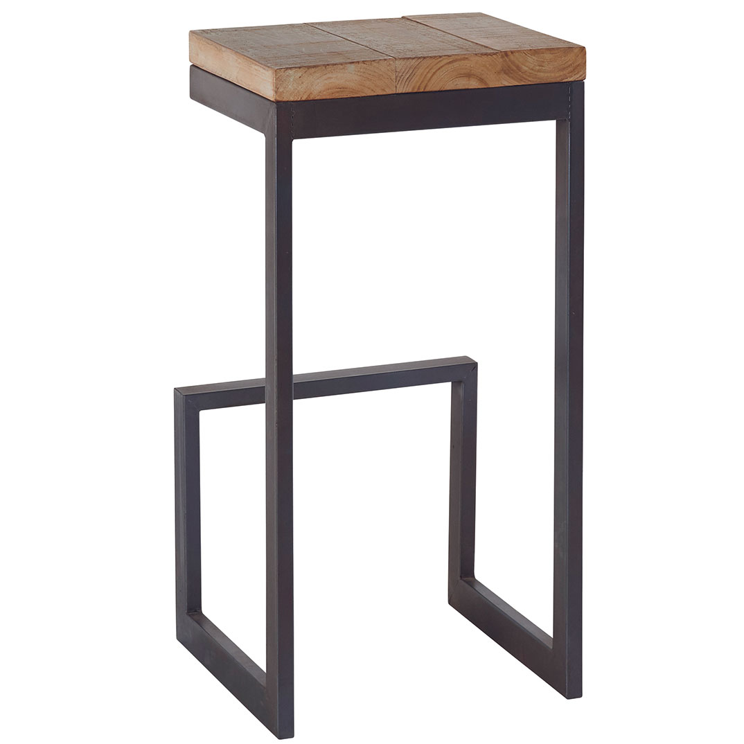 tabouret haut en sapin massif au look industriel chic. Black Bedroom Furniture Sets. Home Design Ideas