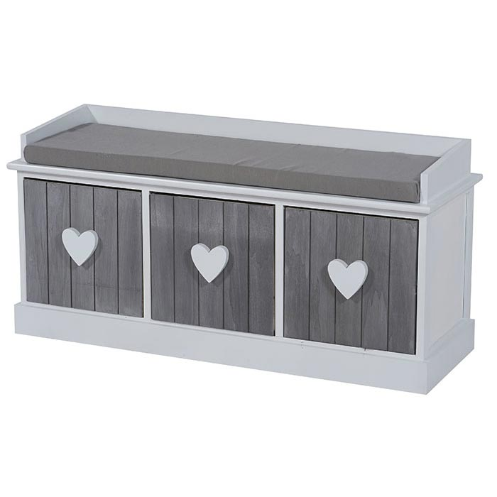banc heart gris et blanc en mdf et bois massif avec 3 tiroirs. Black Bedroom Furniture Sets. Home Design Ideas