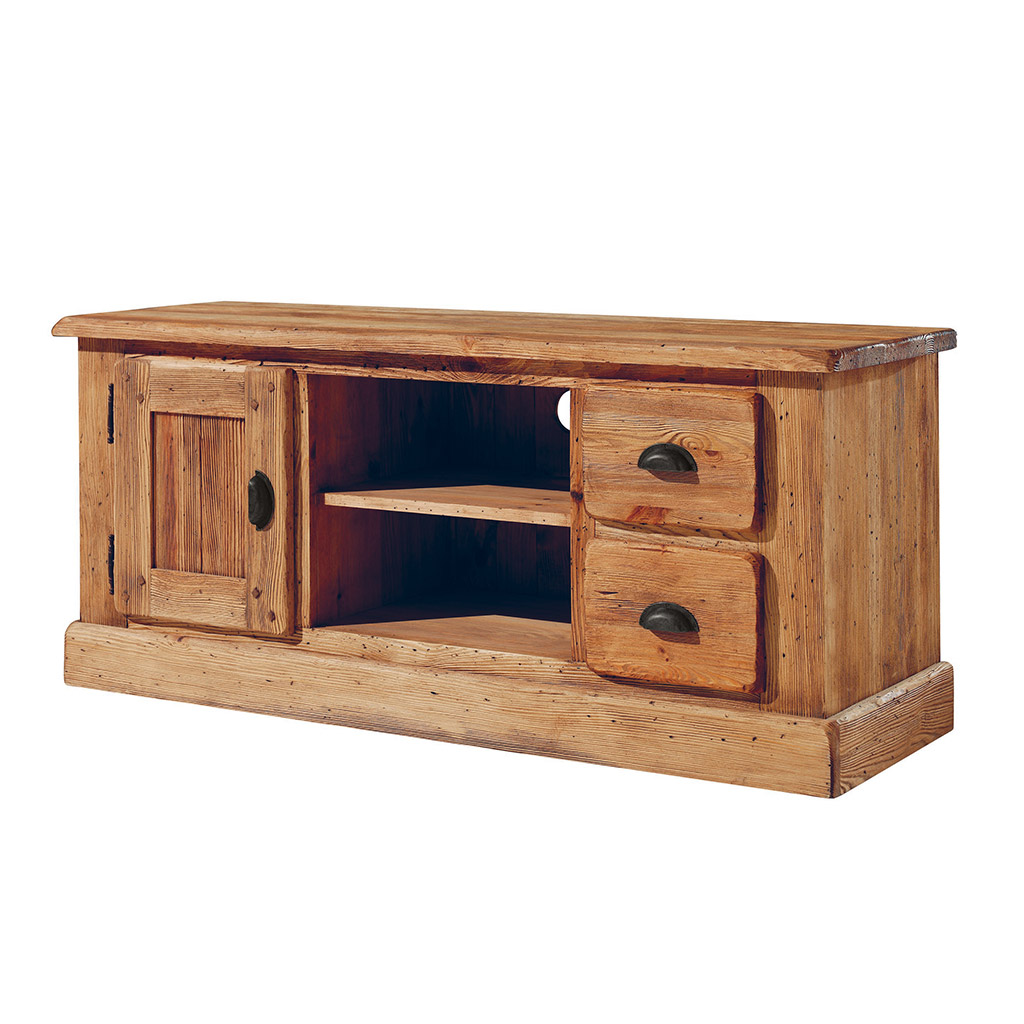 meuble tv en bois massif bross l 39 ancienne au teinte du miel. Black Bedroom Furniture Sets. Home Design Ideas