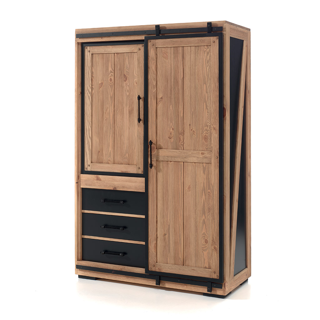 armoire yateley en pin massif et d cor mdf laqu noir. Black Bedroom Furniture Sets. Home Design Ideas