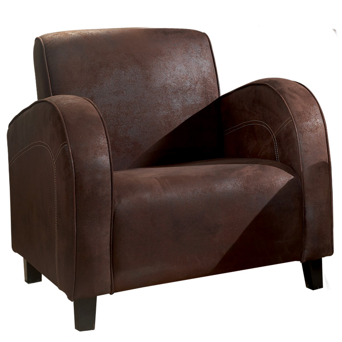 le fauteuil eliot en tissu aspect cuir coloris marron. Black Bedroom Furniture Sets. Home Design Ideas