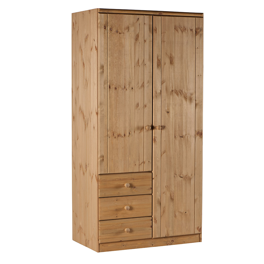 armoire 2 portes en bois massif welton prix bas. Black Bedroom Furniture Sets. Home Design Ideas