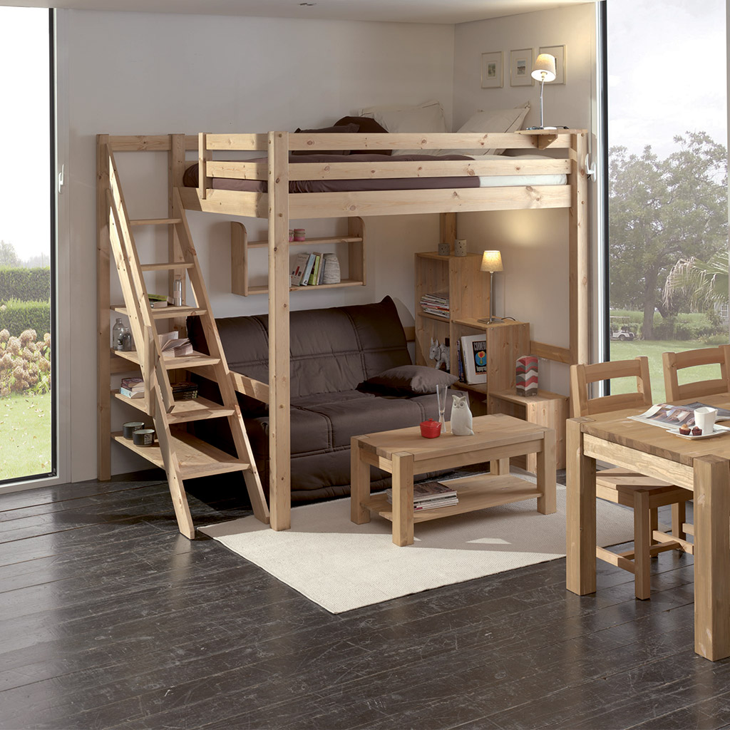 gain de place gr ce la mezzanine loft en bois massif. Black Bedroom Furniture Sets. Home Design Ideas
