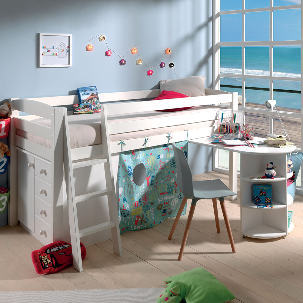exploitez les volumes avec le lit compact tommy en bois massif blanc. Black Bedroom Furniture Sets. Home Design Ideas