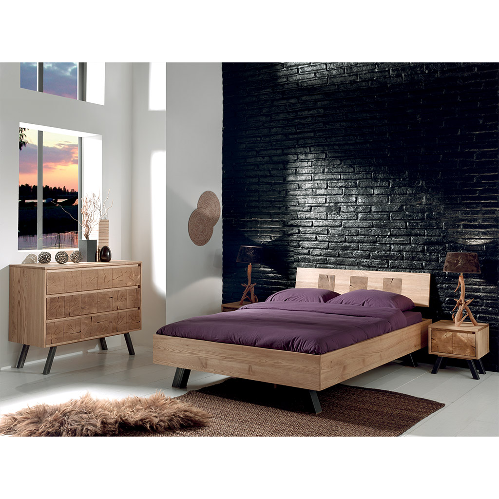 lit 2 places oregon en fr ne massif bross aux lignes pur es. Black Bedroom Furniture Sets. Home Design Ideas