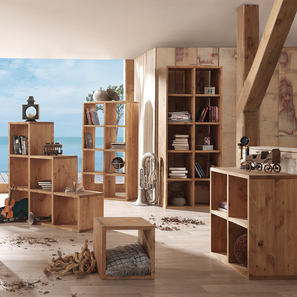 une tag re cube en bois massif cir toute preuve. Black Bedroom Furniture Sets. Home Design Ideas