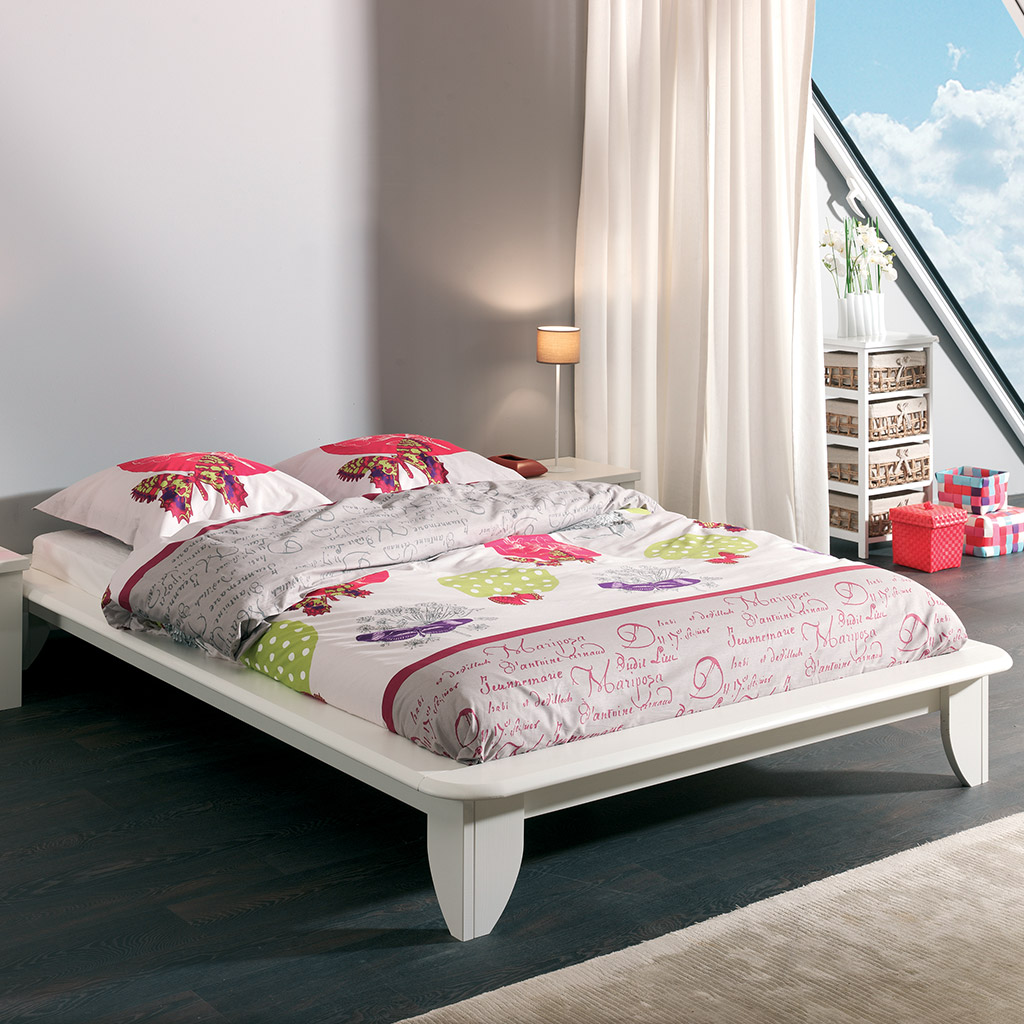lit en pin massif lasur blanc smart petit prix. Black Bedroom Furniture Sets. Home Design Ideas