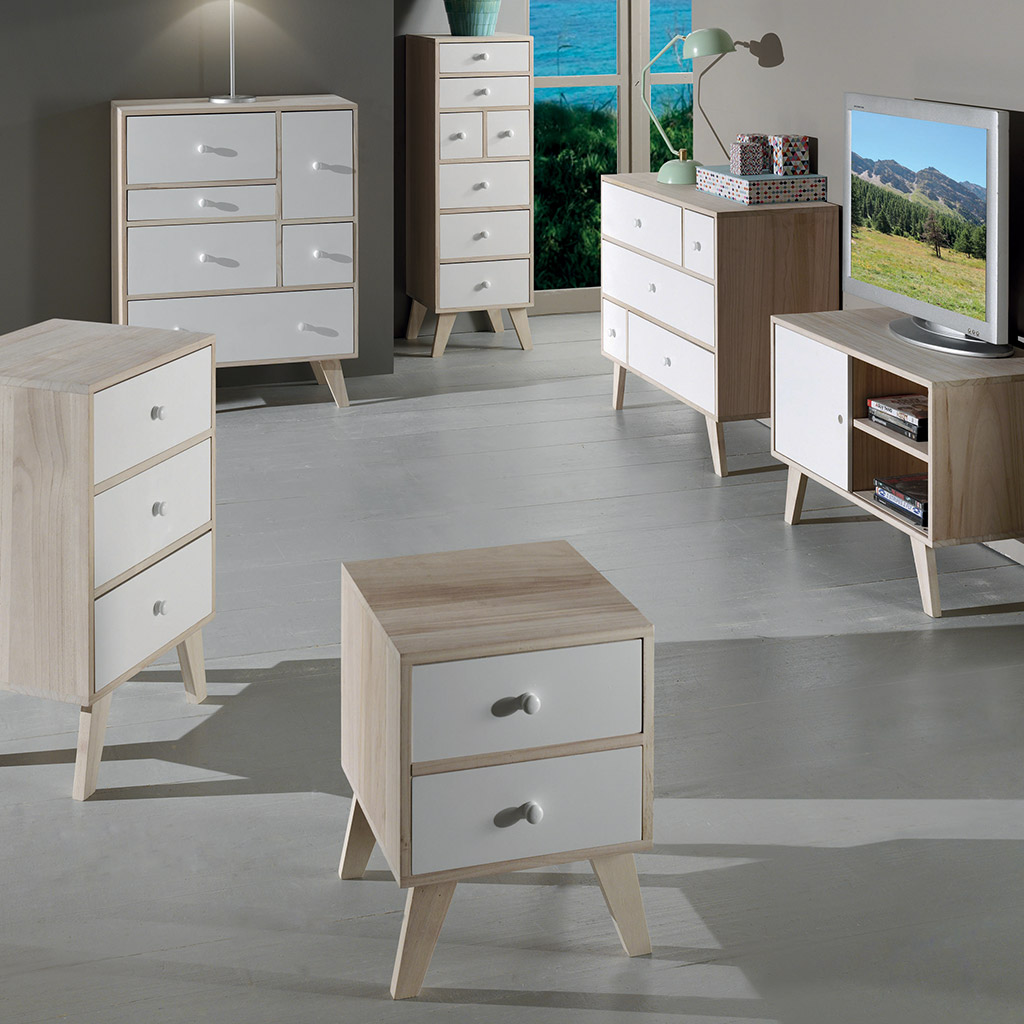 commode d co 7 tiroirs oslo le design bois blanc scandinave. Black Bedroom Furniture Sets. Home Design Ideas