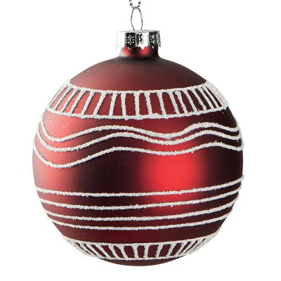 Suspension boule rouge en verre motif aztèque