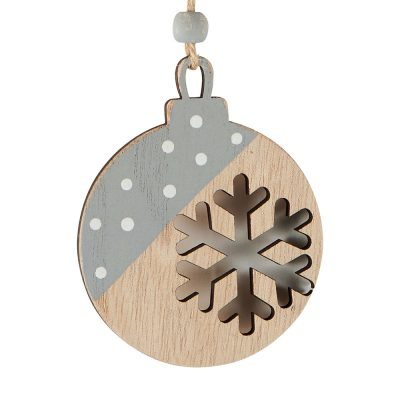 Suspension boule en bois naturel gris et blanc avec flocon
