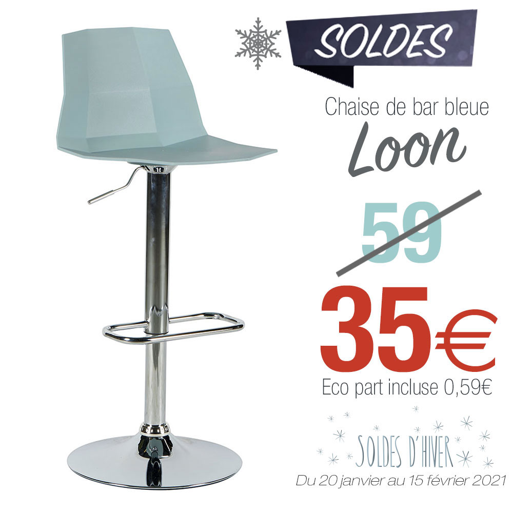 Chaise de bar bleue LOON soldes